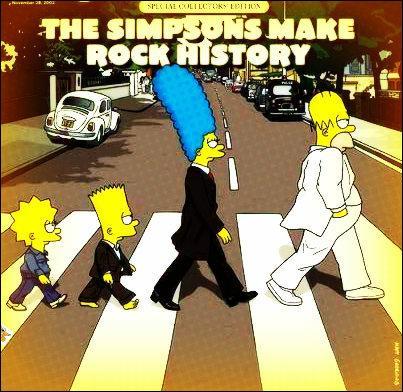 Vous entrez dans le magasin et tombez nez à nez avec les Simpson qui parodient le célèbre groupe de rock :