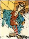 """Ce personnage se nomme Eléonoradus. On le voit dans """"Astérix et le chaudron"""". Que fait -il ?"""