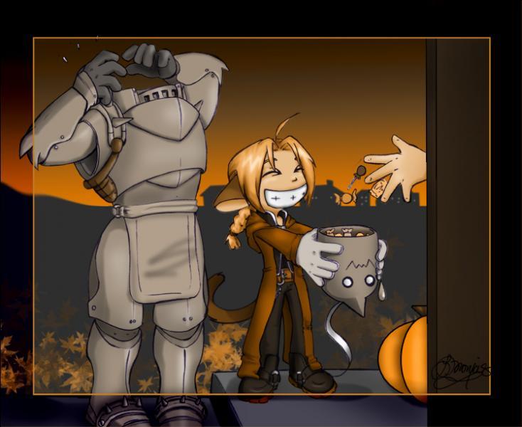C'est Halloween ! Que prend Edward comme récipient pour y mettre les bonbons ?