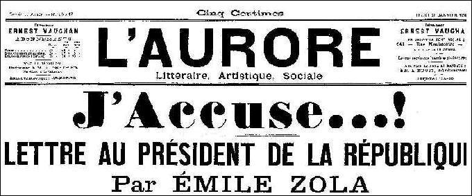 """En quelle année Zola a-t-il écrit son article de journal """"J'accuse"""" ?"""