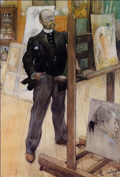 Une exposition lui fut consacrée cette année, de mars à juin 2014, au Petit Palais à Paris. Qui est ce peintre, grande figure de l'art suédois, qui s'est représenté dans son atelier en 1895 ?