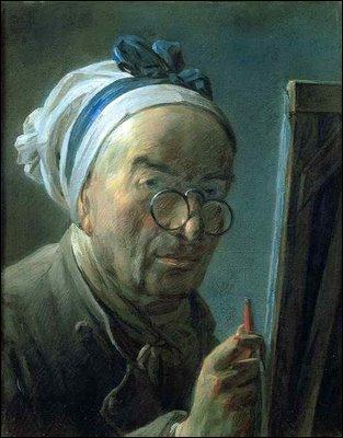 """Célèbre pour ses natures mortes et ses pastels, quel peintre du 18e siècle s'est représenté dans cet """"Autoportrait au chevalet"""" ?"""