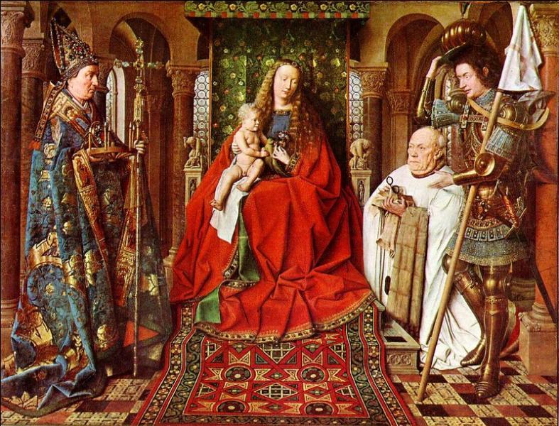 """Quel peintre primitif flamand a représenté la vierge Marie dans ce tableau intitulé """"La Madone au chanoine Van der Paele"""" ?"""