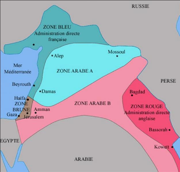 Des accords seront signés le 16 mai 1916 entre la France et la Grande-Bretagne. Ils prévoient le partage en zones d'influence du Moyen-Orient. Comment se nomment ces accords ?