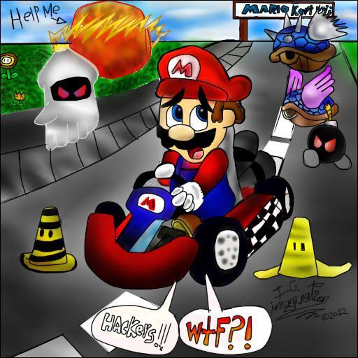Aïe Aïe Aïe ! Mario aussi ! A côté de quoi est-il ?