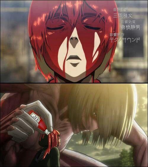 Comment se fait-il qu'Armin est plein de sang sur lui ? (répondez avec ce que vous voyez sur l'image)