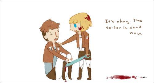Cette fois si Armin a le visage sale, c'est pour une autre raison. Quelle est-elle ?