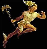 ------ à large bord plat, et baguette de laurier ------- de deux serpents et ------ de deux ailes sont les ------ du dieu Hermès.