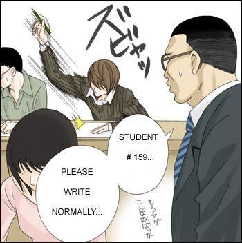 Pendant l'examen, un étudiant s'est fait remarquer parce qu'il écrivait bizarrement. Qui est-il ?