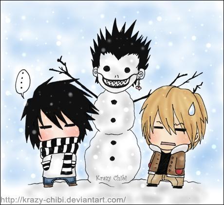 Il neige ! Et Mikami et Light ont fait un bonhomme de neige ! A qui ressemble-t-il ?