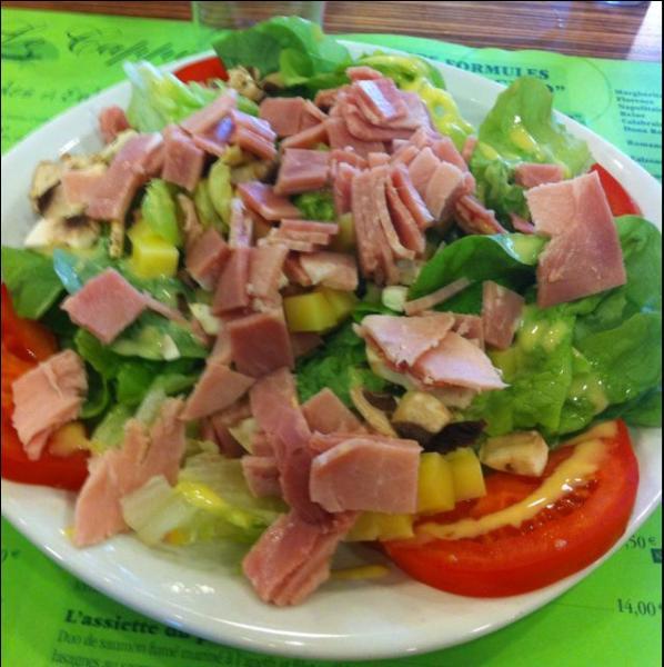 Quelle est cette salade dans laquelle sont mélangés jambon de Paris, emmental entre autres choses ?