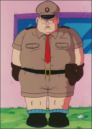 """Voici le membre de cette armée chargé de diriger l'unité, chargé de se rendre à Kame House, afin de demander au """"scientifique"""" qui s'y trouvait, de leur fabriquer un Dragon Radar aussi performant que le leur ! Quel est son grade ? Quel est son nom ?"""
