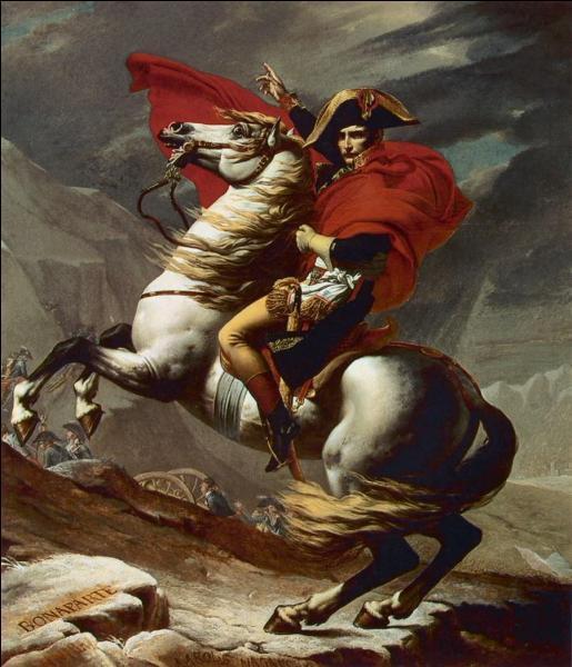 Ce tableau de Napoléon le représente en train de franchir le col du Grand-Saint-Bernard dans les Alpes. Or ce tableau a quelque chose de faux. Quelle est-elle ?