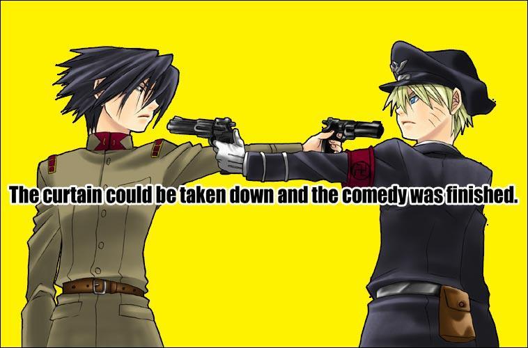 """""""Tout de suite, un reportage sur la guerre en Allemagne qui fait rage. Nous voyons un commandant américain pointer son arme sur le chef allemand..."""""""