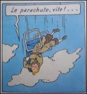 """Dans l'album """"Le Sceptre d'Ottokar"""", une trappe s'ouvre et Tintin est éjecté d'un avion en plein vol. Comment survit-il à cette terrible chute ?"""