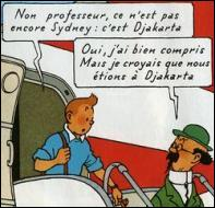 Quel vol Tintin et le professeur Tournesol doivent-ils prendre à la correspondance de l'aéroport de Djakarta ?