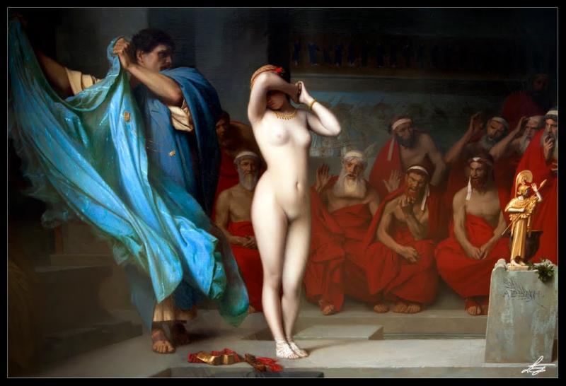 Qui est cette prostituée en 371 av. J.-C. ? Son avocat eut l'idée de la dévêtir pendant son procès. Les juges athéniens, émerveillés par tant de splendeur, renoncèrent à la condamner.
