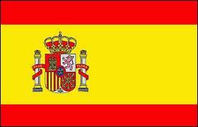 A quel pays appartient ce drapeau constitué de deux bandes horizontales rouges et une autre plus grosse horizontale jaune avec un emblème ?