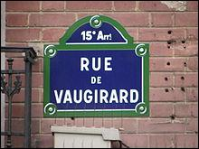 La rue de Vaugirard porte le nom :