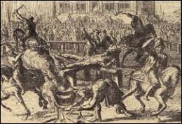 """L'assassin est """"soumis à la question"""" et torturé. Il affirme avoir agi seul sur ordre de Dieu. Condamné à mort, comment est-il exécuté ?"""