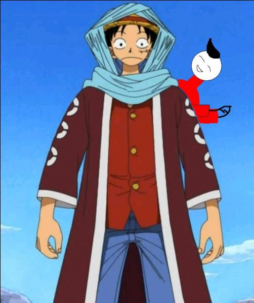 J'ai voulu essayé quelque chose de différent, et c'est comme ça que cette tenue a vu le jour ! J'ai insisté pour que Luffy enlève son chapeau pour mettre le foulard mais il n'a pas voulu...Malgré cela, je reste très fier de cette tenue, qu'il a portée alors qu'il était en voyage à...