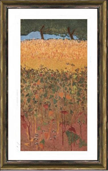 """Quelle figure emblématique du mouvement pictural des Nabis est l'auteur de cette huile sur toile """" Le champ de blé d'or et de sarrazin """" datant de 1900 ?"""