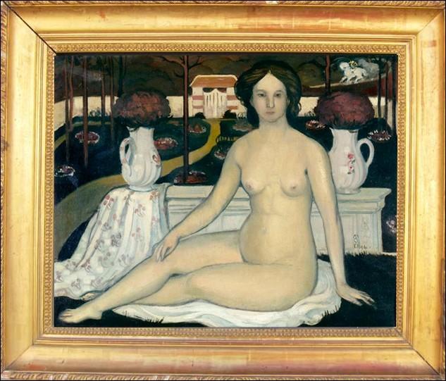 """A quel artiste normand, peintre, décorateur et graveur devons-nous cette huile titrée """" La Dame au jardin clos """" ?"""