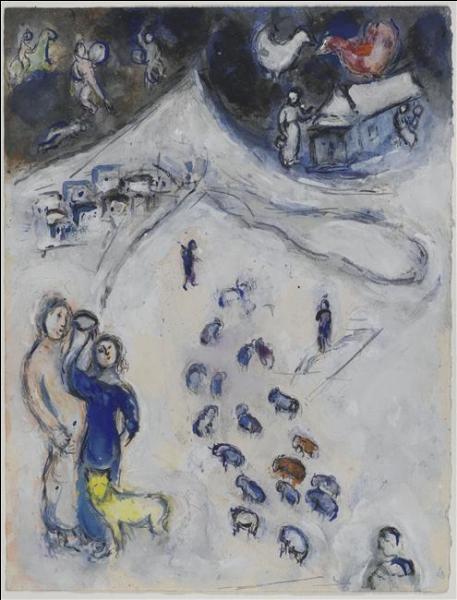 """Quel artiste, connu pour avoir réalisé le décor du plafond de l'Opéra Garnier, a peint cette gouache, """"L'hiver"""" ?"""