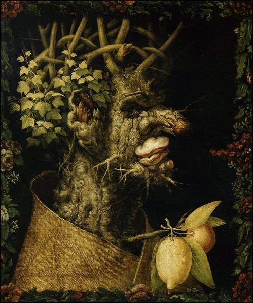 """Le peintre italien Giuseppe Arcimboldo (1527-1593) a réalisé une série de quatre portraits liés aux saisons. """"L'Hiver"""" est un vieillard. Un tronc noueux ressemblant à un visage, forme le profil d'un vieillard au visage creusé de rides. La chevelure est représentée par..."""