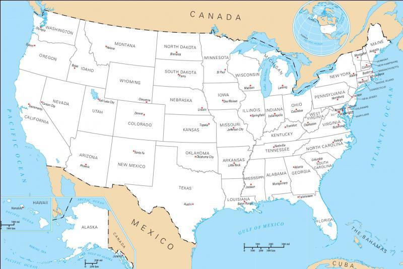 Quels sont les deux océans qui bordent les Etats-Unis ?