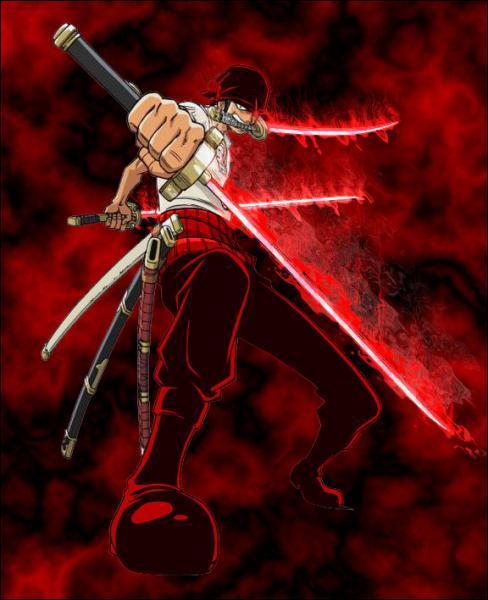 Parmi les trois katanas qu'il utilise lors de sa technique à trois sabres, comment s'appelle celui qu'il a dans la bouche ?