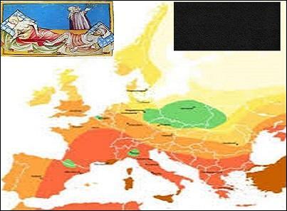 La carte montre l'évolution de l'épidémie entre 1346 et 1353 depuis la première diffusion jusqu'aux terribles ravages qu'elle fit. Tenez compte au moins d'une illustration pour en trouver le nom.
