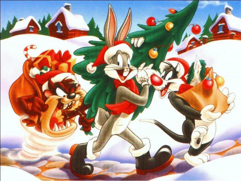 Que nous dit le Père Noël qui porte le sapin ?