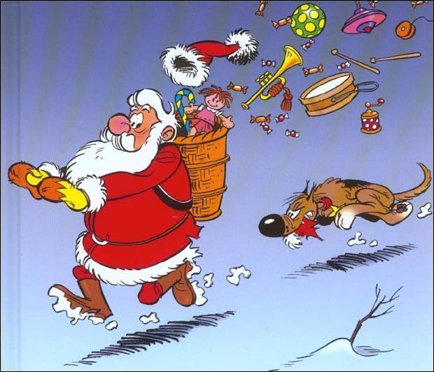 La dernière question n'est pas un cadeau de Noël ! Je vous demande de quelle race est le chien qui poursuit le Père Noël ?