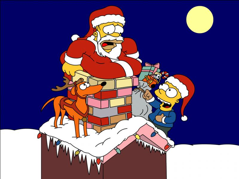 C'est bien le chien de la famille Simpson que l'on voit en compagnie du Père Noël. Quelle est donc la race de ce chien ?