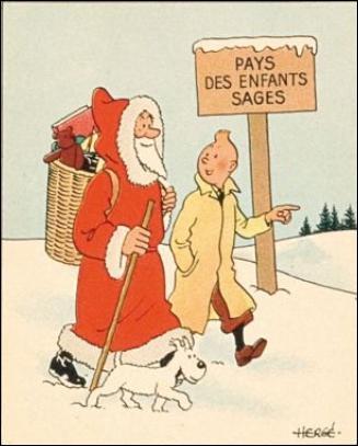 Observons bien celui qui est sous le manteau du Père Noël. Va-t-il boire du champagne pour Noël ?