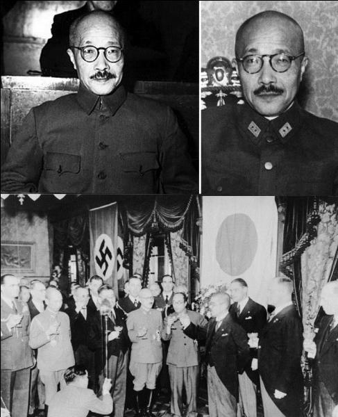 Allons au Japon ! Il est le chef du gouvernement qui décide de lancer l'attaque du 7 décembre 1941. Avant la guerre il a été plusieurs fois ministre au sein de différents gouvernements japonais. Suite à de nombreuses défaites, il sera destitué en juillet 1944. Il a été condamné à mort au procès de Tokyo et exécuté.