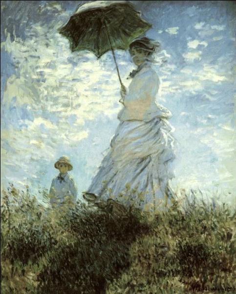 """Qui de Manet ou Monet a peint en 1875 ce tableau nommé : """"La Promenade"""", peinture sur laquelle sont représentés la femme et le fils de l'artiste ?"""