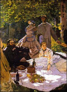 """Ce """"Déjeuner sur l'herbe"""" a été peint en 1866. Le peintre a voulu produire son propre effet, non en choquant, mais en représentant une douzaine de personnages grandeur nature, avec un grand souci du détail, dans une lumière naturelle. Qui est ce peintre ?"""
