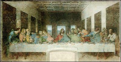 Léonard de Vinci a peint ' la Cène ' sur le mur.....
