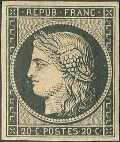 1er janvier 1849 : mise à disposition du public français de deux timbres-poste non dentelés, un noir de 20 centimes et un rouge de 1 franc. Le dessin représente la déesse romaine de l'agriculture et des moissons, c'est-à-dire...