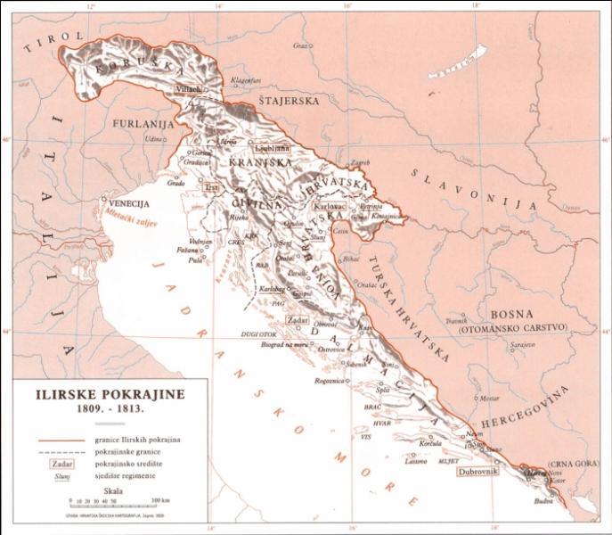 """A quel empire la Croatie et la majeure partie de la côte Adriatique appartenaient-elles sous le nom de """"Provinces illyriennes"""" de 1809 à 1813 ?"""