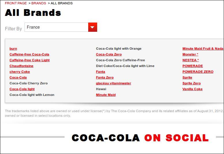 Ainsi, si vous voulez bien faire les choses, vous boycotterez non seulement la marque Coca-Cola, mais aussi...