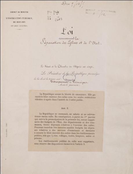 En 1905, est votée la loi