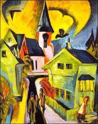 Qui a peint Village rouge à l'église ?