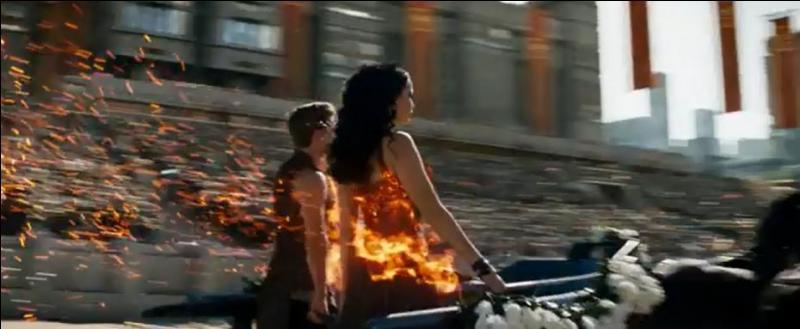 Comment est la robe de Katniss dans le 1 ?