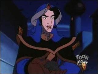 Quel est le nom de ce méchant sorcier du pays des sables noirs qui fait figure de pire ennemi d'un héros Disney ? Quel est le nom du héros en question présent dans un grand classique Disney, puis qui eut droit à deux suites et une série télévisée ?