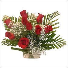 Regardez bien cette composition faite de roses rouges et de ... (ne vous occupez pas du feuillage)