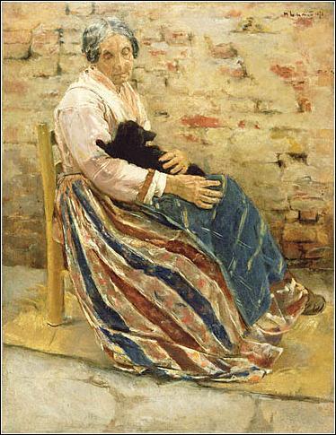 """Qui a peint """"Vieille femme avec un chat"""" ?"""