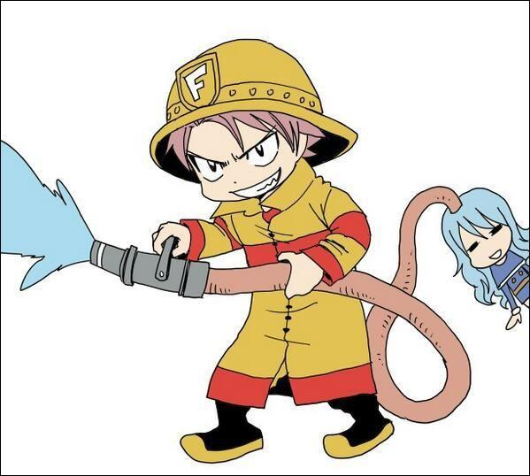 Suite à cet appel au secours, Natsu le pompier arriva sur les lieux et utilise sa lance pour faire fondre la glace. D'où puise-t-il son eau ?